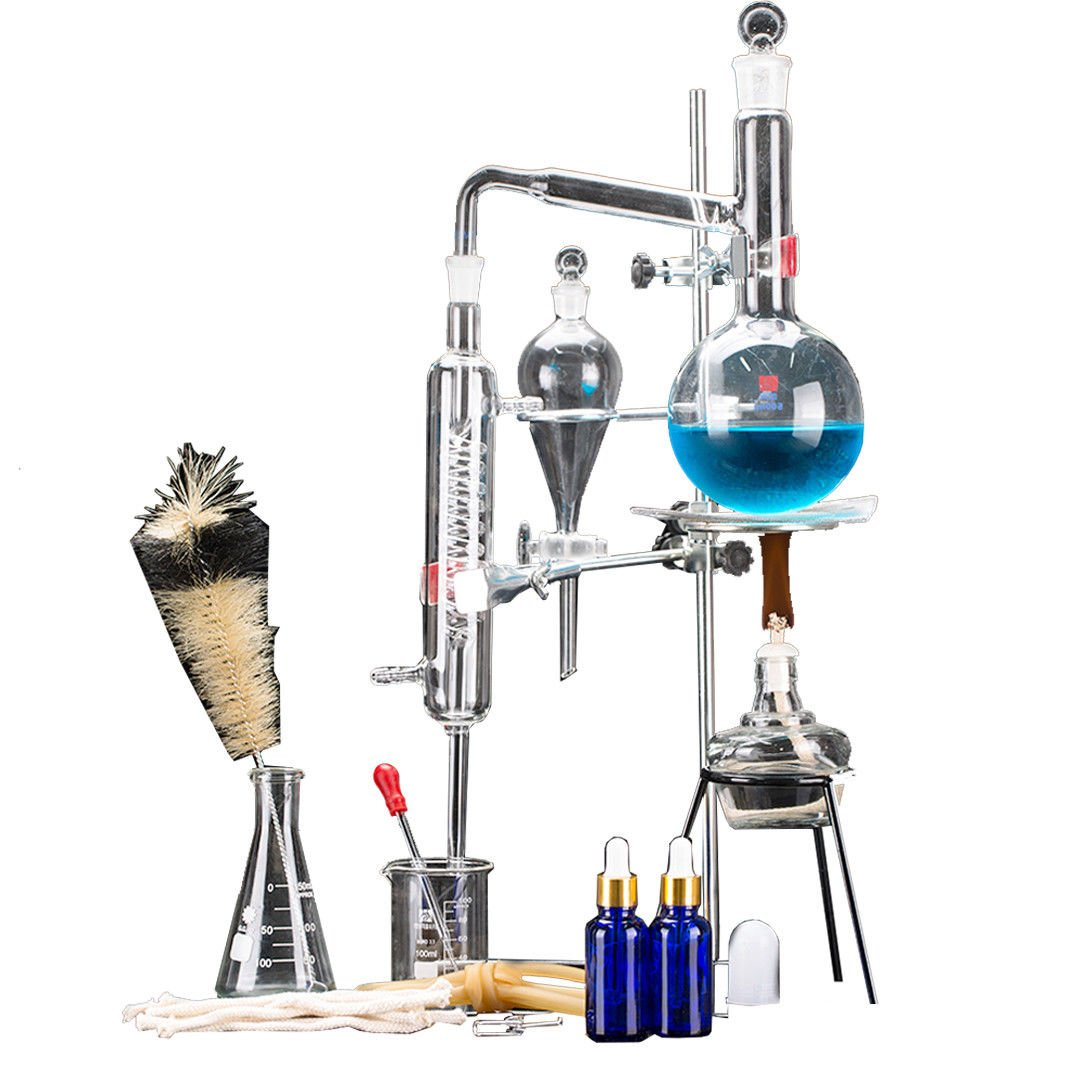 24pcs New 500ml Lab Essential Oil Distillation Apparatus Water Distiller Purifier Glassware Kits w/Condenser Pipe Flask