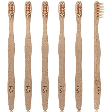 Lictin 6Pcs Cepillo de dientes madera de bambú Cuidado dental natural