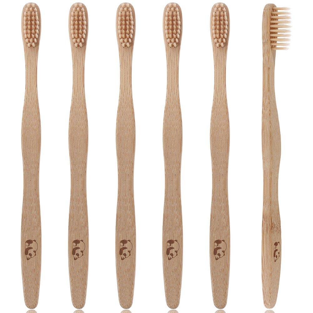 Lictin 6Pcs Cepillo de dientes madera de bambú Cuidado dental natural product image