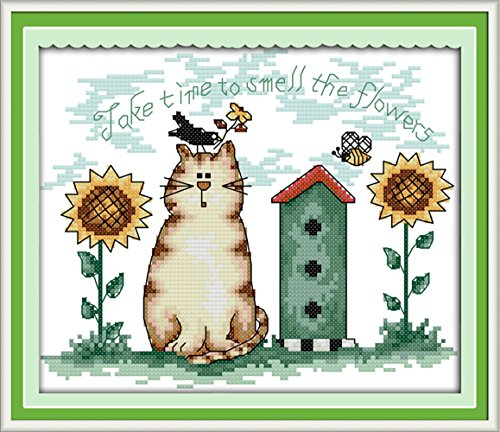 eGoodn Cross Stitch Stamped Kit Pre-Printed Pattern Sunflower and Cat, 11ct Aida Fabric Size 13 inches by 9.8 inches for Embroidery Needlework Art Crafts Lovers, No Frame (Cross Stitch Printed)