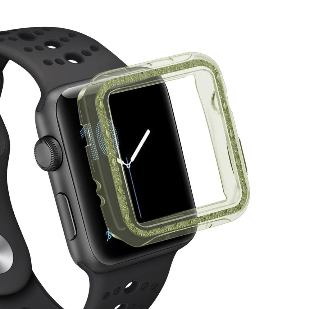 HighlifeS Apple Watch Case Buit in TPU Screen Protector All-around Protective Case High Definition Clear Ultra-Thin Cover for Apple Watch 38mm/42mm Series 3/2 (Green, 38mm)