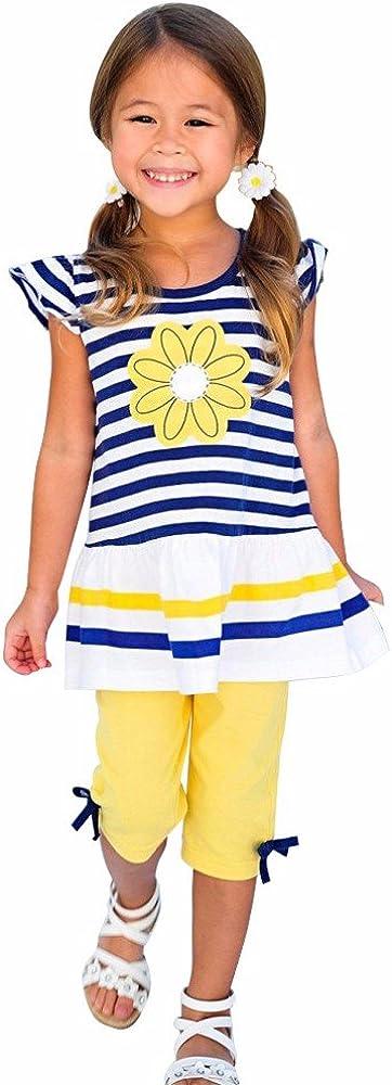 DWQuee Kleine M/ädchen Kleidungsset,Streifen Shirt Top Bogen Hose Suit f/ür 1-8 Jahre