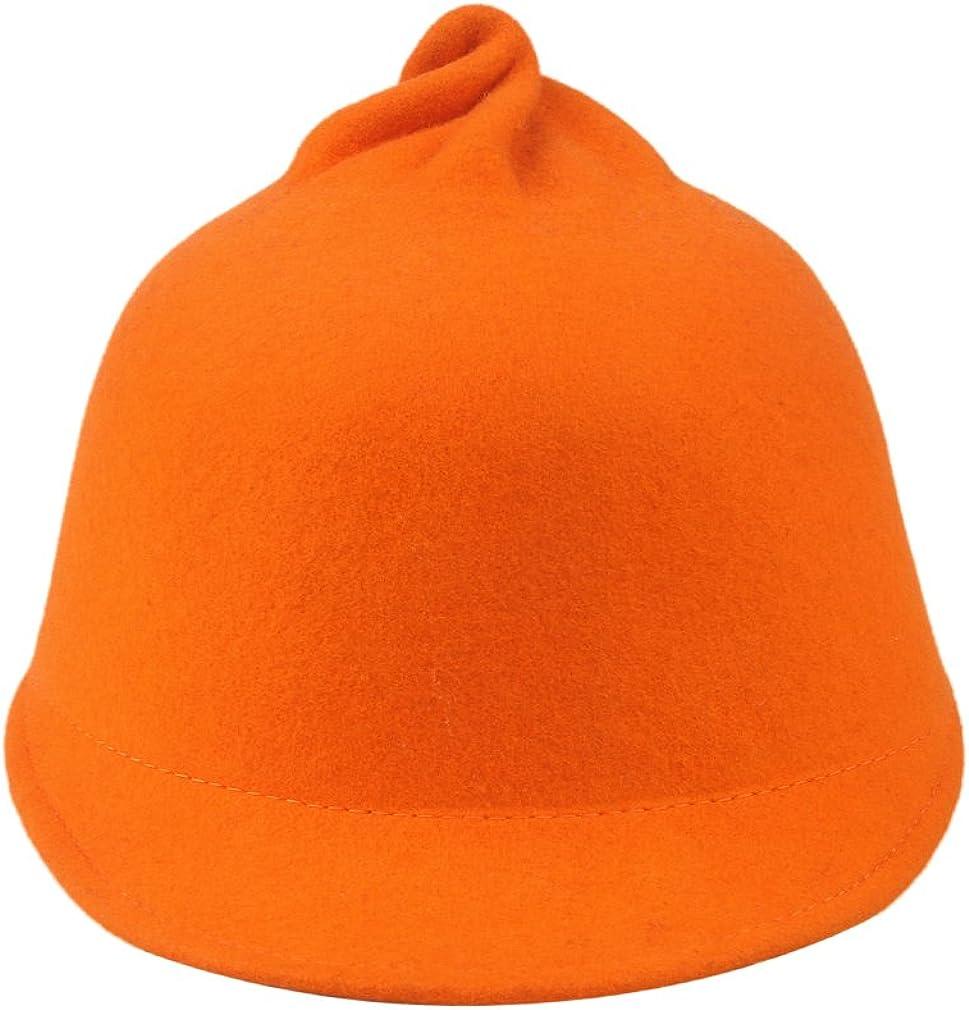 La Vogue Women Winter Warmer Skull Caps Solid Wool Cuff Hat Orange