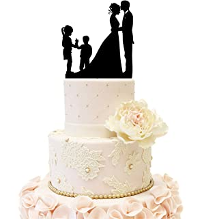 Wedding Anniversary Silhouette Family Cake Topper Couple With 2 Kids Girl And Boy Black