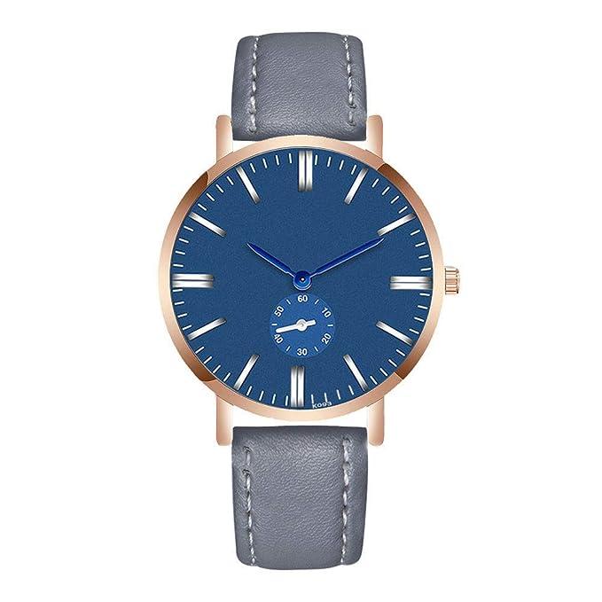 Longra reloj de Pulsera de Cuarzo analógico de Cuero Fashion Man Crystal: Amazon.es: Ropa y accesorios