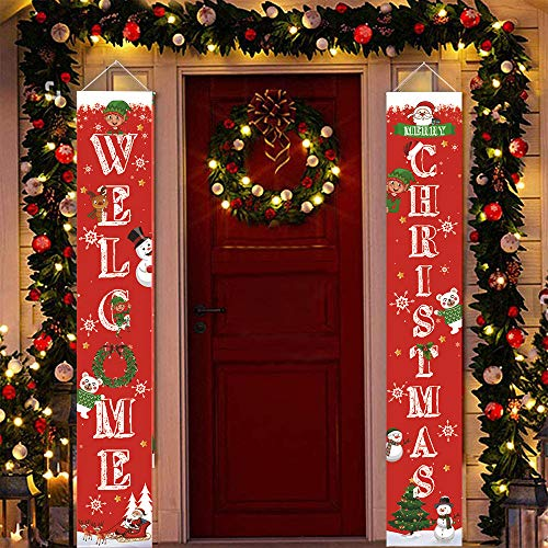 EKUPUZ Merry Christmas Banners,2020 New Christmas Decorations Outdoor Indoor - Merry Bright Porch Sign - Red Xmas Decor Banners for Home Wall Door Apartment Party (01)