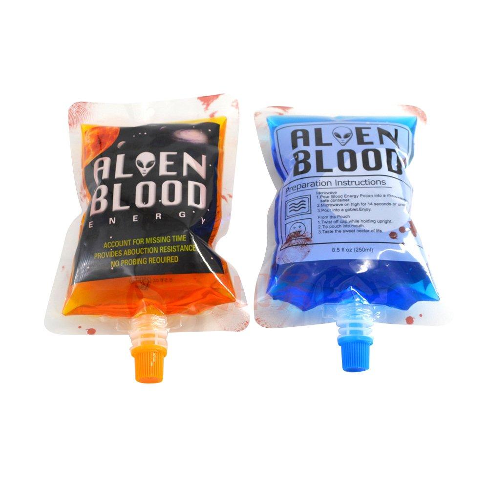 (precio/20 piezas) Aspire 8 oz y sangre bolsas para zumo, vampiro bebida comida para fiesta de Halloween, 8,6 mm boquilla talla única Poison With Funnel: ...