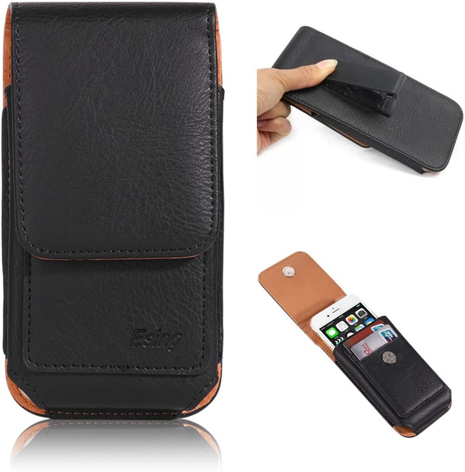 "iPhone 8 Case,Esing 4.7"" Universal Faux Leather Phone Cases for iPhone 6 6s 7 8 Samsung Galaxy S3 HTC M7 Xperia X Compact Holster Pouch with Card Slot Rotation Belt Clip (Black)"