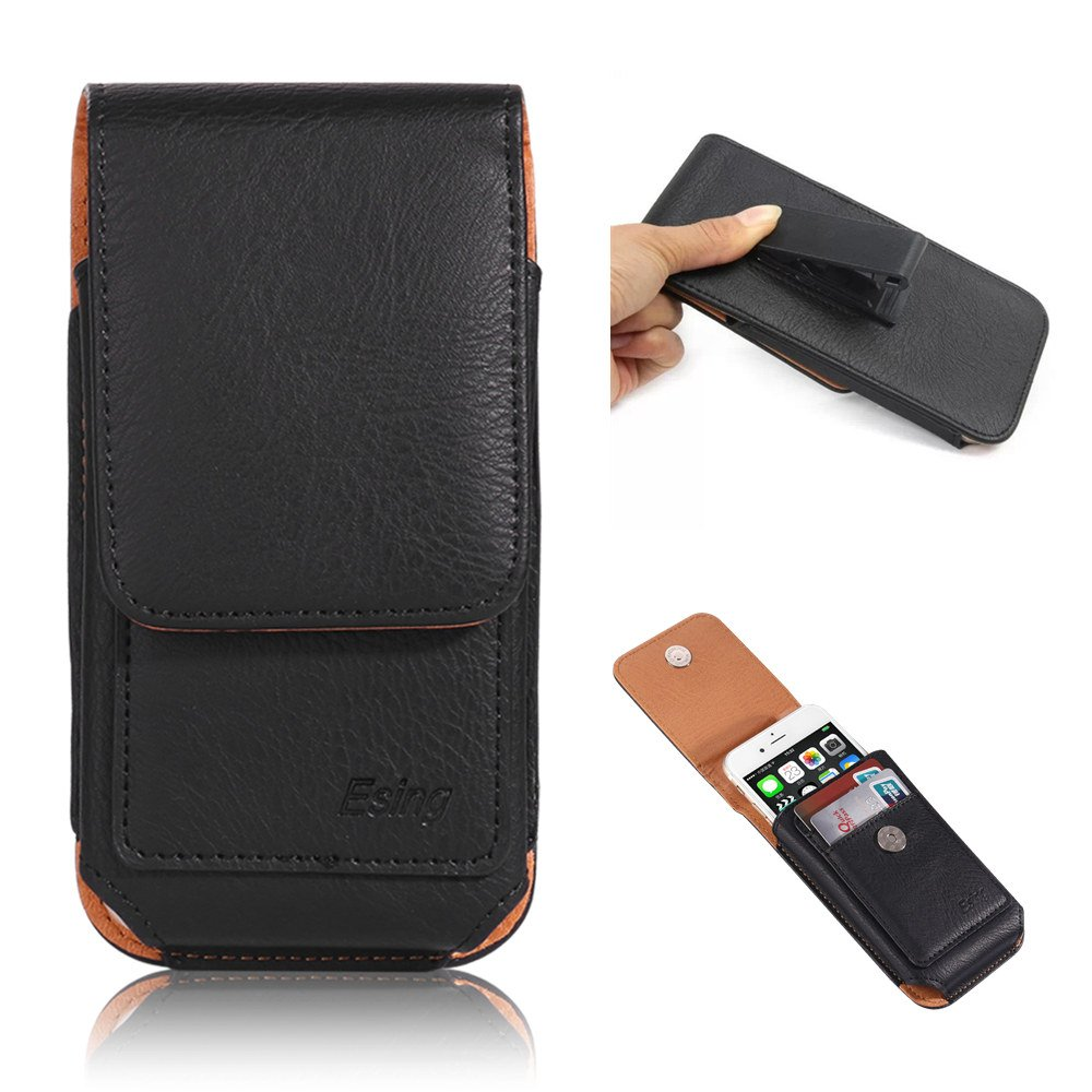 """Esing 5.5"""" Universal Faux Leather Holster Pouch Card Slot Rotation Belt Clip for iPhone 6 6s 7 8 Plus Galaxy S6 S7 Edge LG G3 G4 G5 G6 HTC M8 M9 Huawei P10 Mate 9(Black)"""
