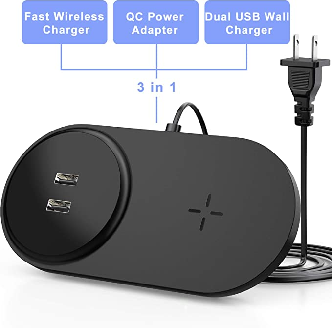 Fast Wireless Charger with Dual USB with Built-in Adapter