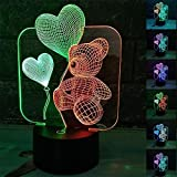 ZTOP Abstractive 3D Optical Illusion Love Bear Colorful Lighting Effect Touch Switch USB Powered LED Decoration Night Light Desk Lamp