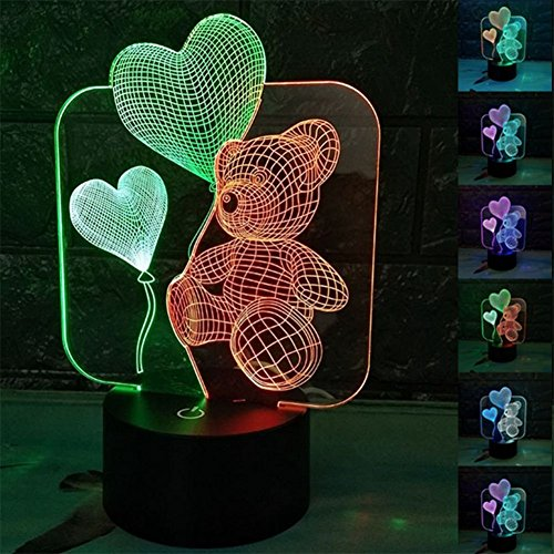 ZTOP Abstractive 3D Optical Illusion Love Bear Colorful Lighting Effect Touch Switch USB Powered LED Decoration Night Light Desk Lamp by ZTOP