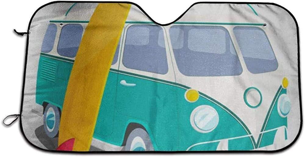 Roman Lin Pare-Soleil Pare-Brise De Voiture,Bus Surfer Van Graphics Transport Et Surf Sport Board Camper Portable Car Pare-Brise Pare-Soleil,Gardez Le V/éhicule Au Frais S