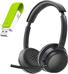 Avantree AH6B & Leaf - Bluetooth 5.0 Headset with Detachable Microphone and Class 1 Long Range USB Bluetooth Audio Transmitter Adapter for PC Laptop Mac