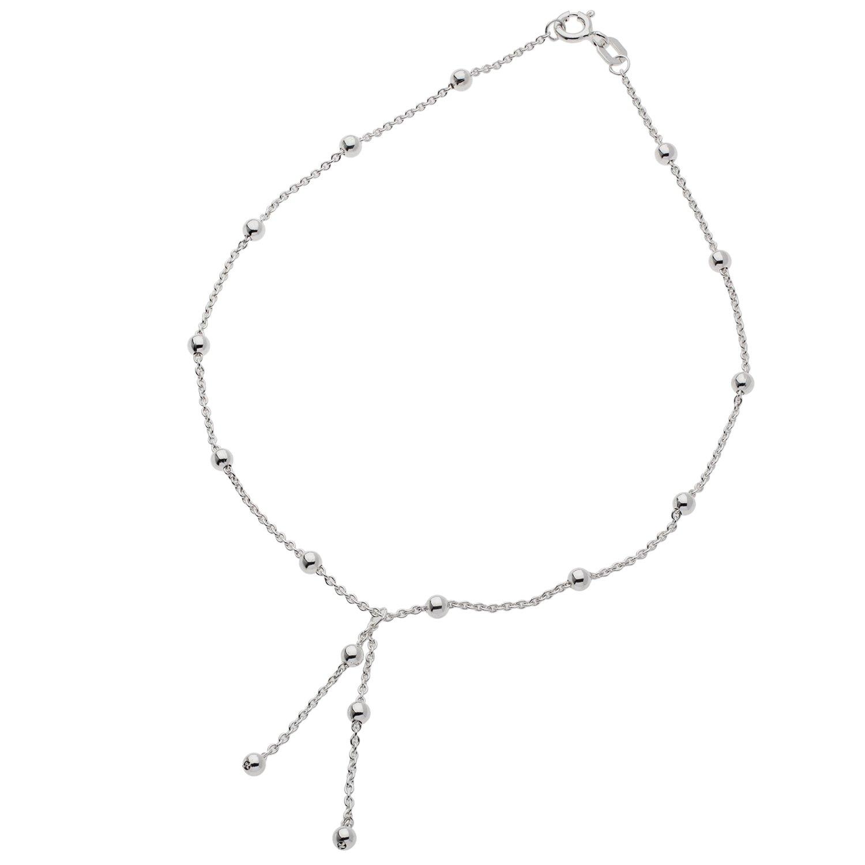 Schmuck-Pur Echt Silber Fußkette mit Zierkugeln und Behang Cadenis 113-1559
