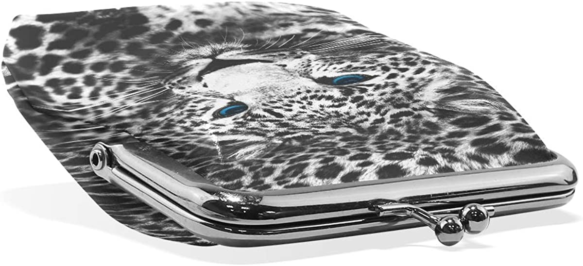 Women Wallet Purse Animal Leopard Black White Clutch Bag Leather