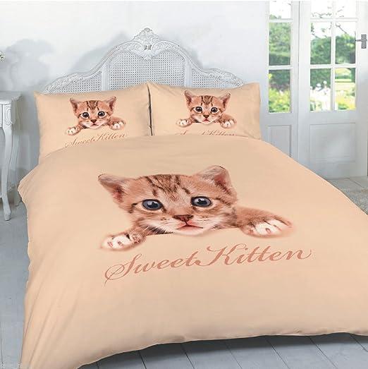 Funda nórdica gato gatito 3d funda de edredón para cama doble King ...