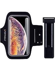 PORTHOLIC Brassard de Sport pour iPhone XS Max,-avec Sangle Ajustable- Anti-Sueur Armband avec Porte-Clés&Cartes,Attache pour Câble