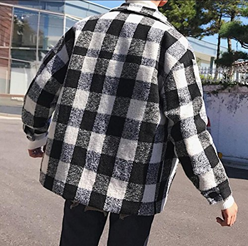 Black Winter M Jackets amp;S Trench amp;W Plaid Men's Outwear Print Wool gS7pSx
