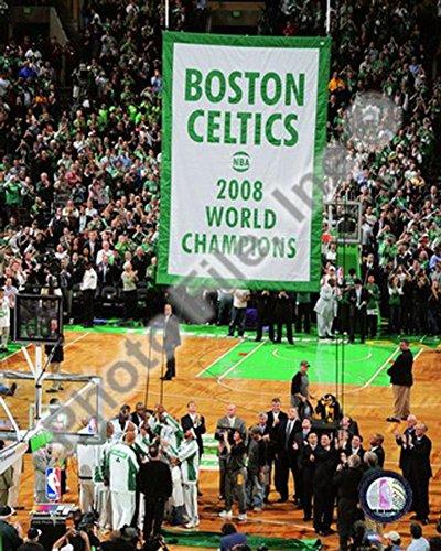 The Boston Celtics Raise their 2007-08 Championship Banner Photo 8 x - Banner Championship Celtics