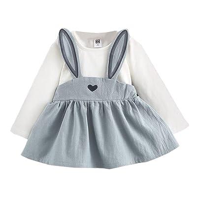 d5ce153cdd361 POachers Robe Bebe Fille Mini Manches Longues Robes Enfants Lapin Hiver Robe  Fille Tutu Princesse Dress Printemps Vêtements Bébé Fille 3 mois à 3 ans