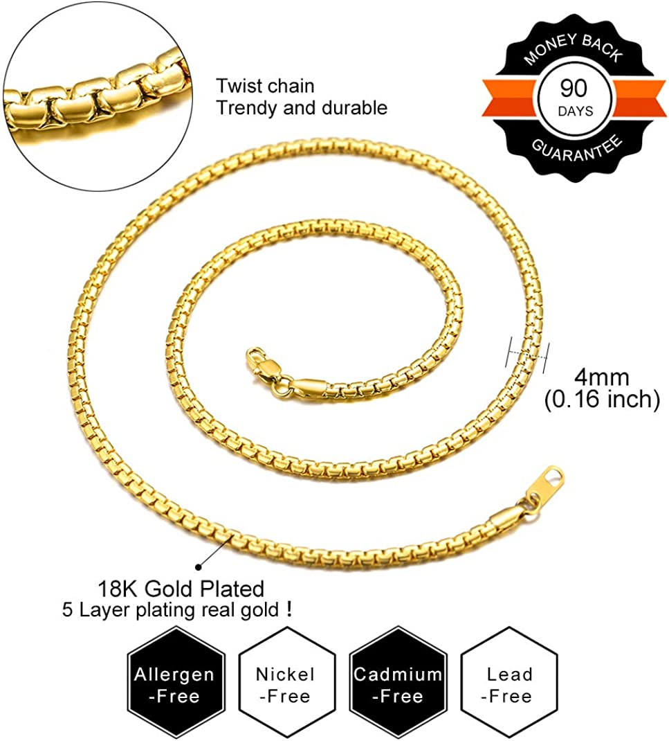 14-30 18K Gold Plated//Stainless Steel//Black Rhodium Plated Chain Necklace for Men Women GoldChic Jewelry 4//6mm Flat Round Box Link Chain,Free Engraved