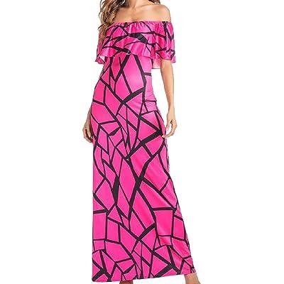 323f36885da Abetteric Women Print Off Shoulder Flounced Evening Dress Maxi Dress