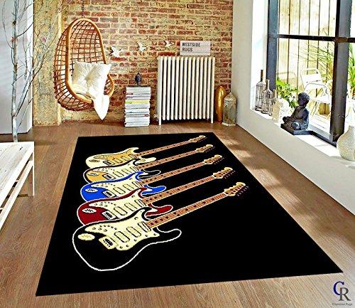 "Champion Rugs Musical Instruments Guitars Music Room Modern Carpet Area Rug (5' 3"" X 7' 5"")"