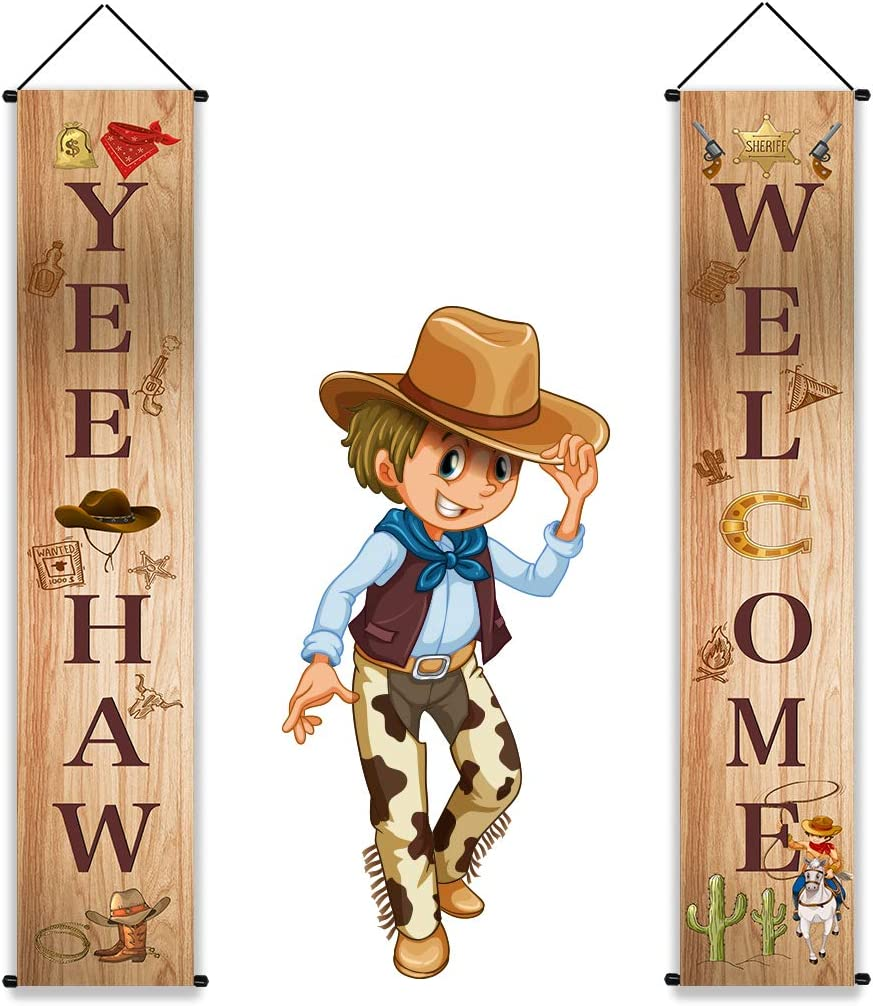 West Cowboy Garland Party Decorations - Western Redoe Welcome Banner Porch Sign Hanging Decor Supplies