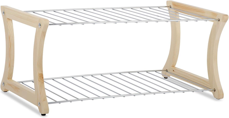 Casa pura® zapatero Fiona | Madera Maciza y acero cromado | Stand Seguridad también para pequeños Guantes, 58 x 32 x 25 cm: Amazon.es: Bricolaje y herramientas