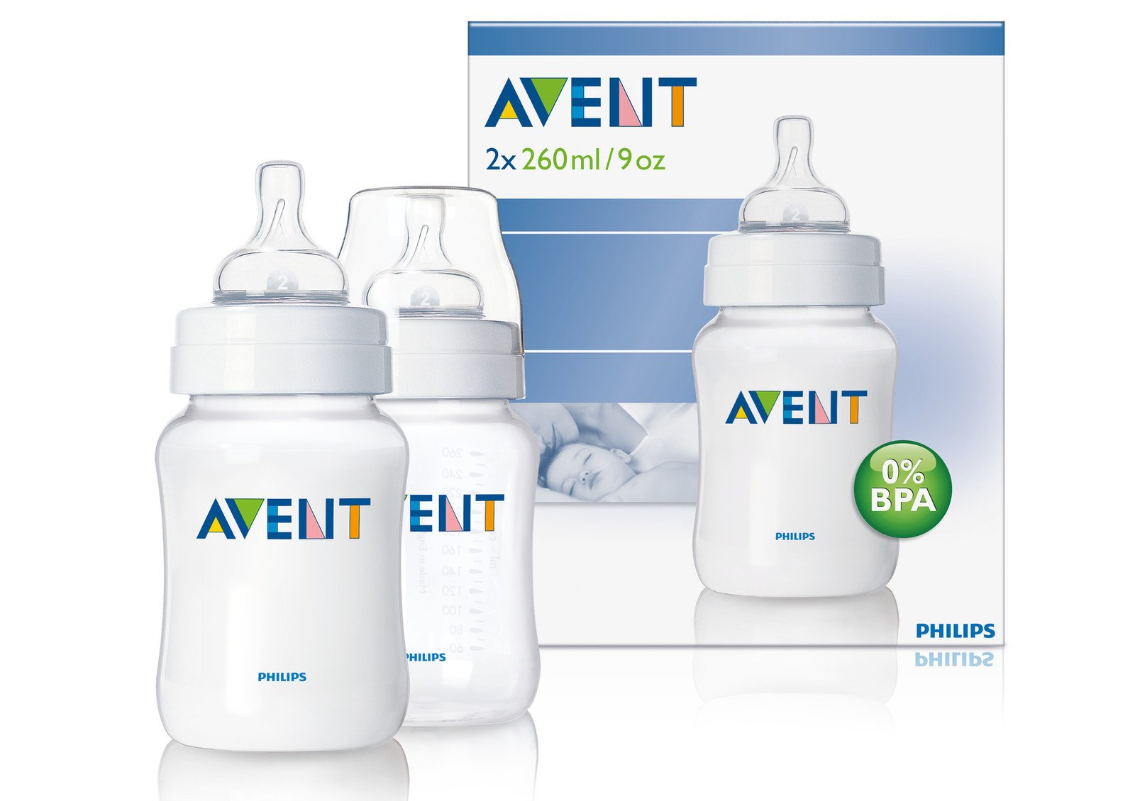 Philips Avent Airflex 260ml 9oz Pp Classic Baby Bottles Scf683/27 Twin 2 Pack Best Quality Original From United Kingdom Fast Shipping by Philips AVENT