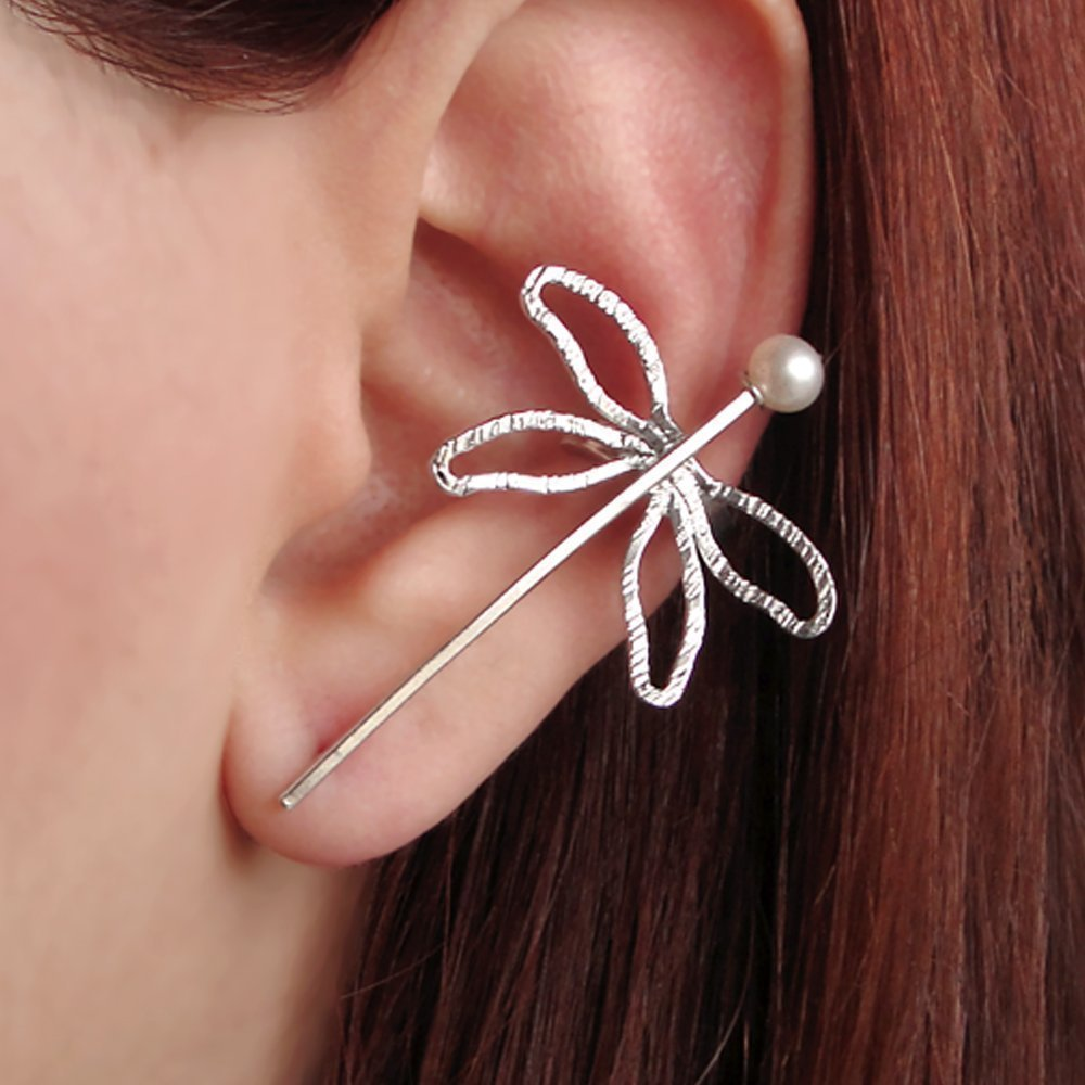 Statement earring, dragonfly earring cuff, quirky earring, ear cuff earring, dragonfly jewelry, earcuff, ear crawler earring