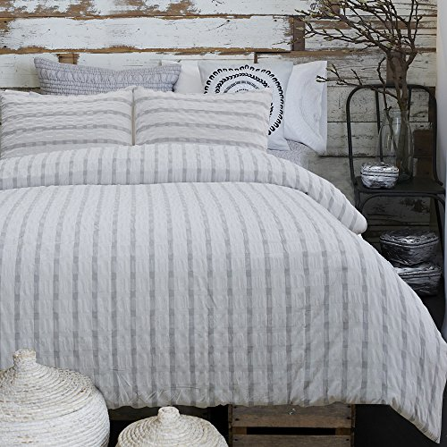 Merryfeel 100% cotton yarn dyed Duvet Cover Set - Queen Grey