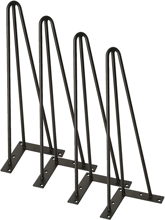 8 TC-Home Set of 4 3//8 Solid Metal Bar Hairpin Table Legs with Screws 8 12 16 18 22 28