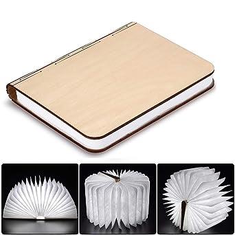 Große Led Buch Lampe Holzbuch Mit 2500 Mah Akku Lithium