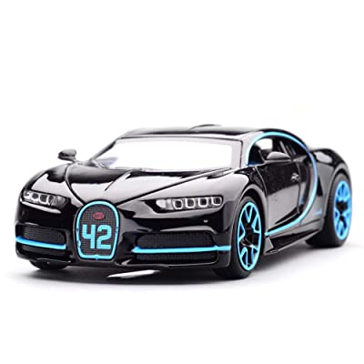 dissylove Pull Back Sports Car, 1:32 Bugatti Chiron Zinc Alloy Pull Back Diecast Rc Car Model Collection with Light & Sound Kids Gift Collections Classic Diecast Model Learning Toy: Home & Kitchen