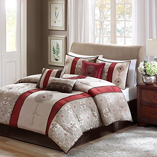 D&H 7 Piece Burgundy Beige Embroidered Medallion Comforter Queen Set, Red Brown Striped Adult Bedding Master Bedroom Stylish Jacquard Pieced Pattern Elegant Themed Traditional, Polyester ()
