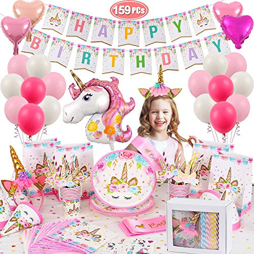 159 PCS Unicorn Party Supplies Set Unicorn Birthday Party Favors with Tableware Kit, Unicorn Balloons, Banner, Headband Unicorn Pink Party Decorations for Girls Kids Serves 16