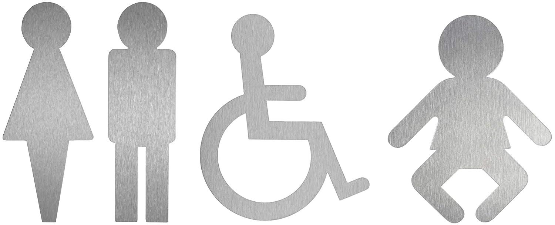 Edelstahl Piktogramme Serie Contour 4er-Set Original Toilettenpiktogramme aus der Ofform Edelstahlschilder-Kollektion WC-Damen WC-Herren Rollstuhl Wickelraum Nr.1118