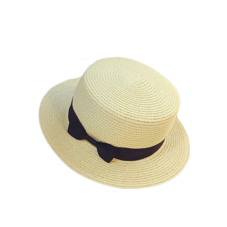 Mageed Anna Fashion Women Hat Straw Beach Summer Wide Brim Sunwear Hat Floppy Cap Bow Holiday Casual Hats Outwear