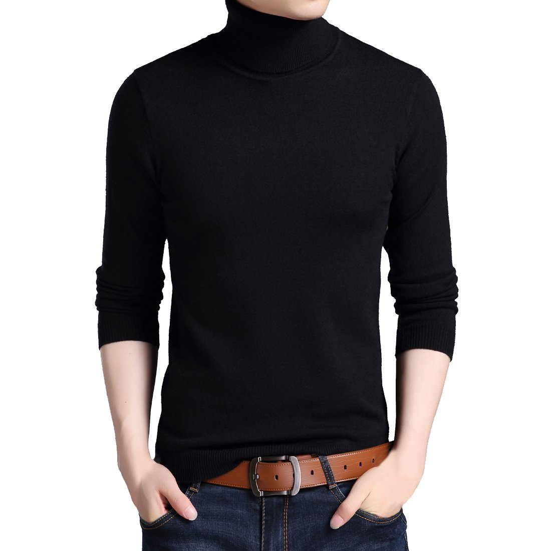 Wonder Fashion Mens Fall Wool Cashmere Knitted Sweater Long Sleeve Turtleneck Pullover Tops for Boys