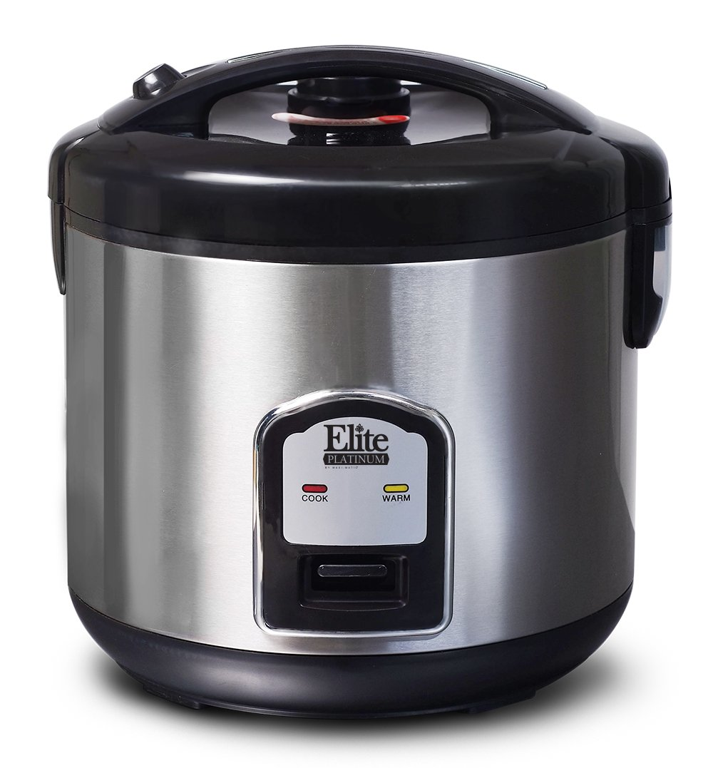 Elite Platinum DRC-1000B Maxi-Matic 10-Cup Stainless Steel Rice Cooker, Black