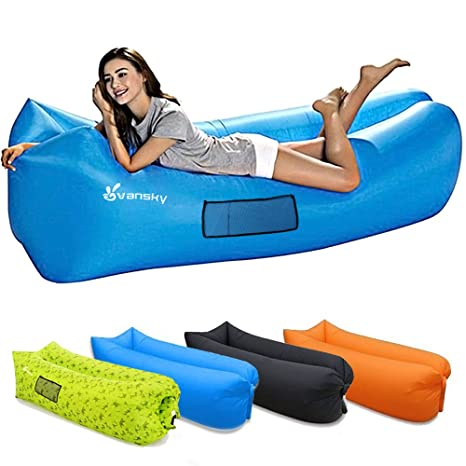 Inflatable Sleeping Bag Lounger Air Sofa Anti-air Leaking Design For Indoor Or Outdoor Use Inflatable Lounge For Camping Picnics Sleeping Bags Camping & Hiking