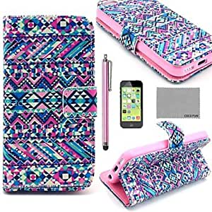CA-TT-121 Purple Tribal Carpet Pattern PU Leather Full Body Case with Screen Protector,Stylus and Stand for iPhone 5C