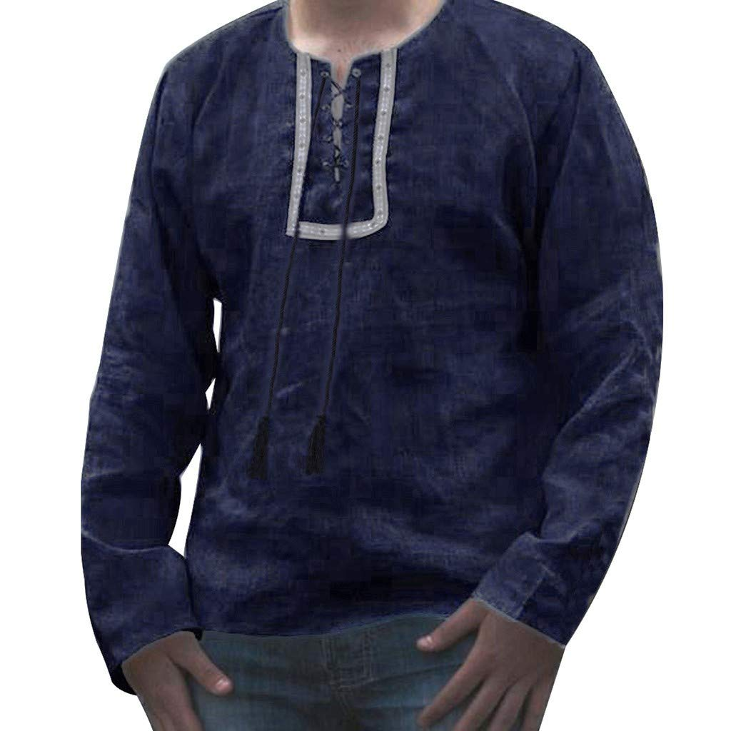 ZIYOU Männer Baggy Langarm T Shirts Baumwolle Leinen Retro Hemden Tops Bluse Beiläufig Sweatshirt