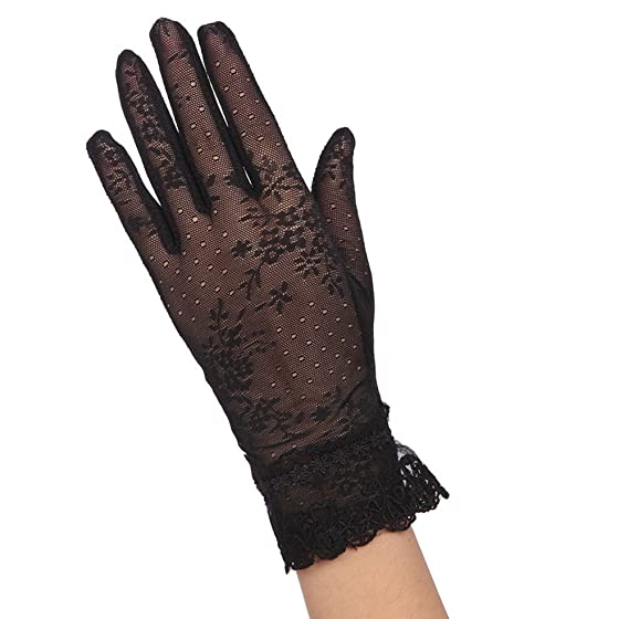 fb96fc88d53ee Yingniao Women UV Protection Glove Floral Stretching Lace Outdoor Driving  Sunscreen Anti-UV Touch Screen Short Gloves Black at Amazon Women's  Clothing store ...