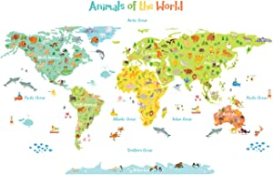 DECOWALL DL-1815 Animals of the World Kids Wall Stickers Wall Decals Peel and Stick Removable Wall Stickers for Kids Nursery Bedroom Living Room décor