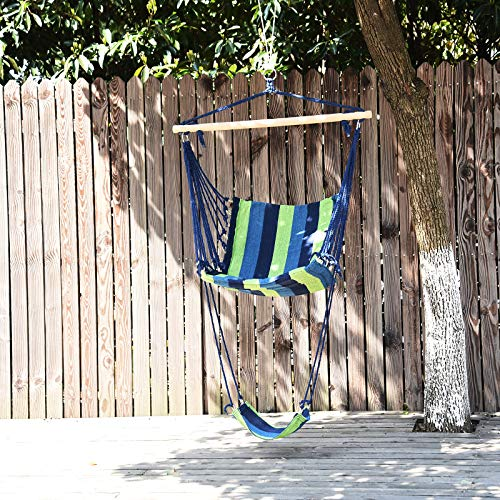 Outsunny Hanging Hammock Chair Swing with Footrest Padded Soft Cushions Indoor Outdoor – Green and Blue