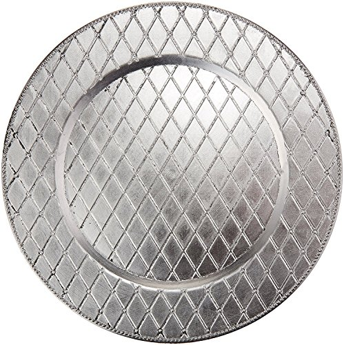 Charge it by Jay Plaid Silver Round 13-inch Charger Plate, Set of 4