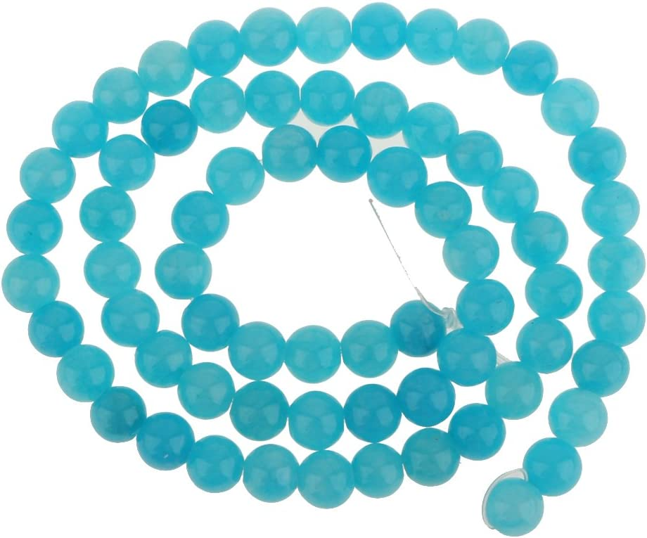 dailymall 6mm Calcedonia Azul Ronda De Piedras Preciosas Perlas Sueltas Capítulo 15.5 Pulgadas